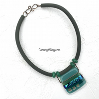 Teal square necklace