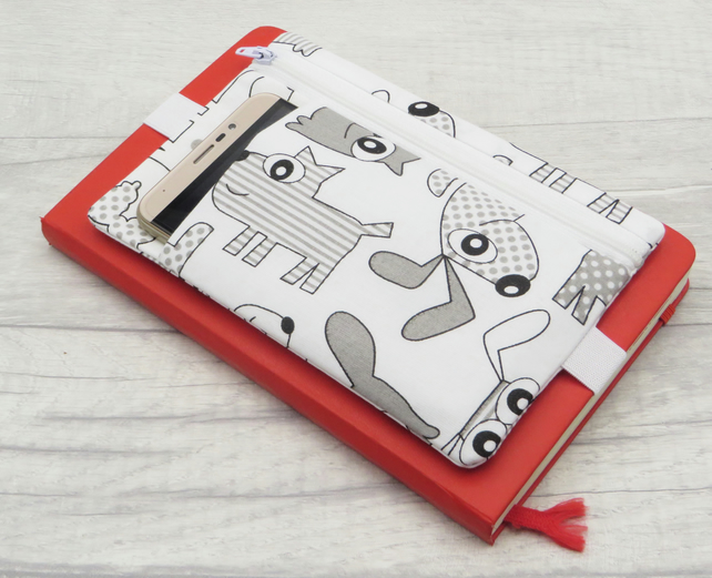 Pen pouch with zipped pocket for bullet journal accessories