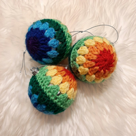 Set of 3 Rainbow Crochet Christmas Baubles - Custom Colour Orders Welcome