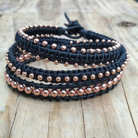 Black leather and Rose Gold Beaded Triple Wrap Bracelet