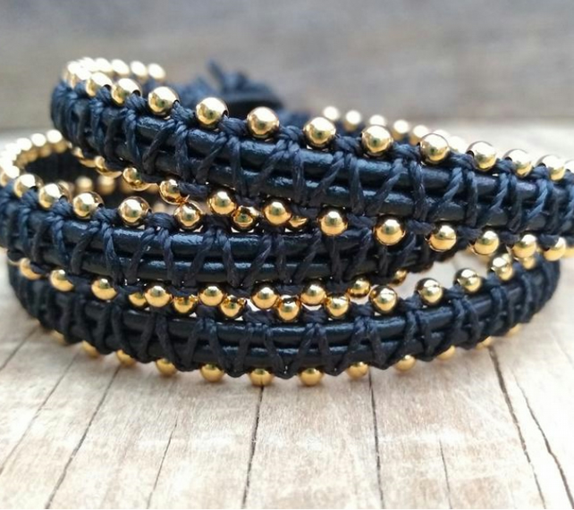 Black Leather 18ct Gold plated Triple Wrap Macrame Bracelet