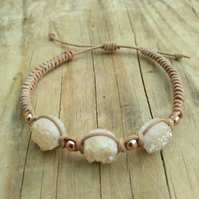 Druzy Quartz Adjustable Leather Macrame Bracelet
