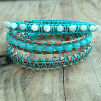 Grade A Amazonite and Mother of Pearl Triple Wrap Bracelet