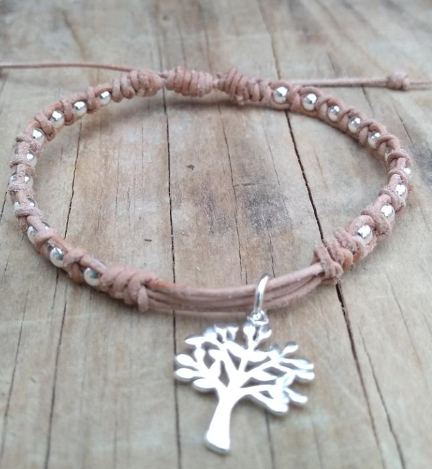 Silver Plated Tree of Life Charm Adjustable Leather Macrame Bracelet