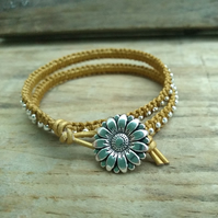 Antique Gold Leather and Silver plated Haematine Double Wrap Bracelet