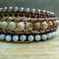 Picture Jasper and Mother of Pearl Triple Wrap Macrame Bracelet