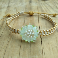 Lampwork Glass Flower Gold Beaded Leather Adjustable Macrame Bracelet.