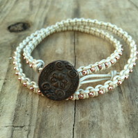 Pearly White Leather and Rose Gold Beaded Macrame Double Wrap Bracelet