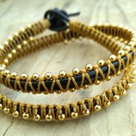 Black and Gold Beaded Leather Double Wrap Bracelet