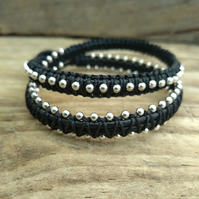 Silver Plated Beaded Black Leather Macrame Double Wrap Bracelet