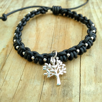 Black Leather Beaded Bracelet with Silver Tree of Life Charm