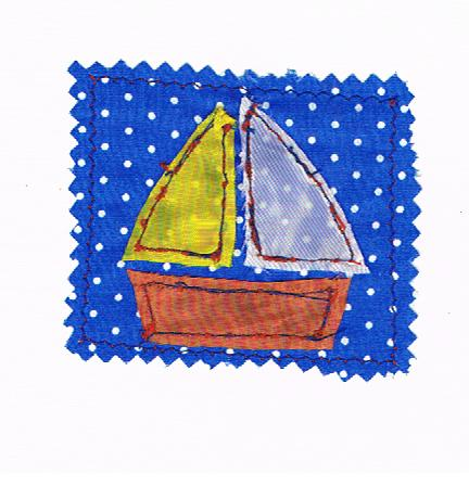 Sewn sailing boat card