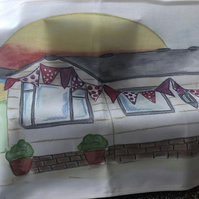 Static caravan tea towel by the seaside with sunset - bunting design