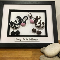 Cow themed Pebble Art Love, valentines