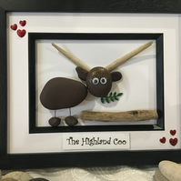 Highland Cow Pebble Art