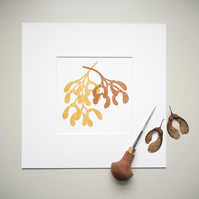 Lino Print. Sycamore Seedpods. Original Wall Art.