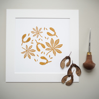 Lino Print - Autumn Leaves - Wall Art