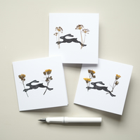 Lino Printed Cards - Pressed Dried Flowers - Wild Flowers - Hare Lino Print