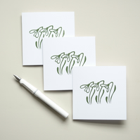 Snowdrop Gift Card - Lino Print - Hand Printed