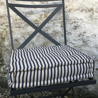 French Mattress, Tufted Cushion, in Navy and Cream Ticking