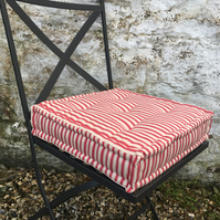 Red ticking, French Mattress, Tufted Cushion