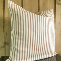 "Ticking Cushion Cover with Beige and Cream Stripes 18"" x 18"""