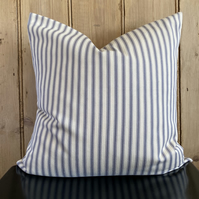 "Cream and Grey Ticking Striped Cushion Cover 18"" x 18"""