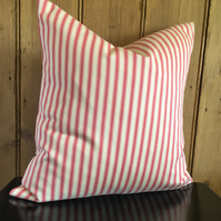 Pink and Cream Ticking Cushion Cover