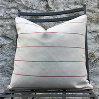 Cream Cushion Cover with Red Stripes