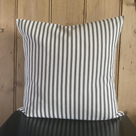 "Ticking Cushion Cover with Black Stripes 18"" x 18"""