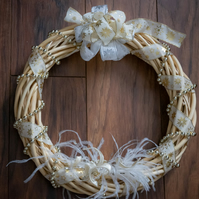 Wicker christmas wreath 30cm decorated