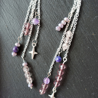Amethyst Dangle Drop Earrings Silver Plated