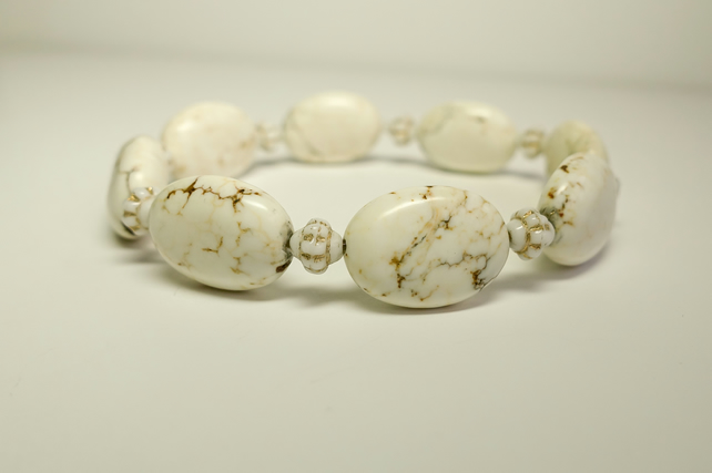 White Magnesite Gemstone bracelet with White & Gold Czech Crystal Glass beads