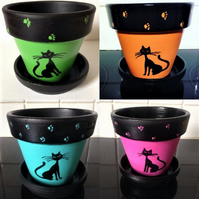 Custom black cat plant pot in a choice of colours with matching saucer.