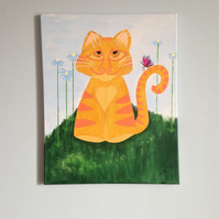 Original painting on canvas, Ginger cat, Nursery decor.