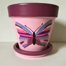Hand Painted Butterfly Plant Pot and Saucer.