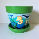 Large Hand Painted Plant Pot and Matching Saucer.