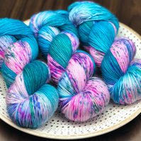 Hand Dyed Yarn: 4ply Merino Nylon - Pool Party. Sock Yarn, Merino Wool