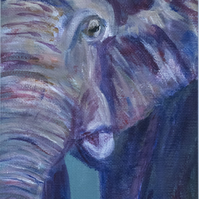 Small elephant painting in purple and teal with frame