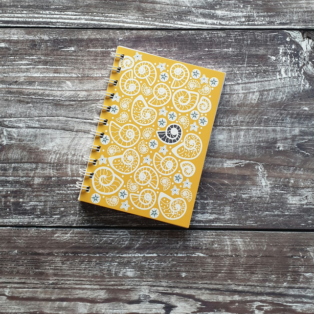 Fossil Beach Wire Bound Notebooks - Yellow