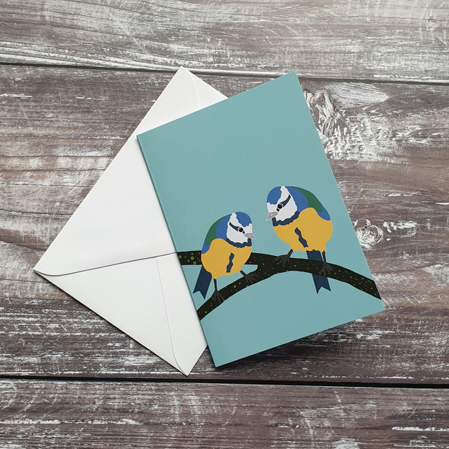 Blue Tit Songbird Greeting Card