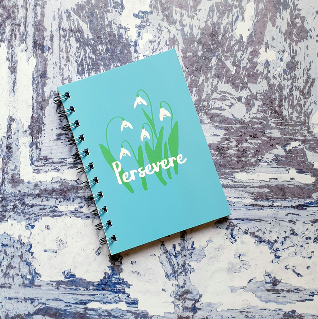 Persevere Snowdrops A6 Wire Bound Notebook