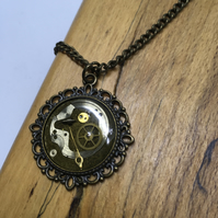 Steampunk watch parts necklace