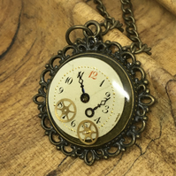 Steampunk watch face bronze necklace