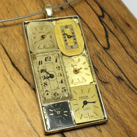 Steampunk rectangular watch face choker