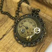 Watch face Steampunk necklace