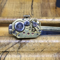 Steampunk watch movement tie pin