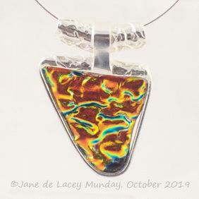 Blue and Orange Dichroic Glass and Fine Silver Pendant