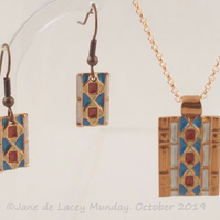 Copper Aztec Style Pendant and Earrings Set
