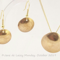 Bronze Domed Pendant and Earrings Set